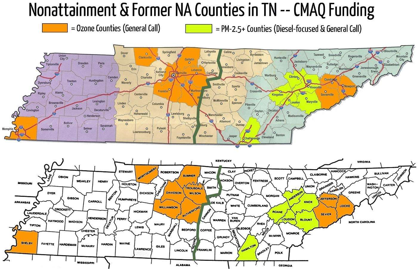 About Us TNCleanFuels - Map of counties in tennessee